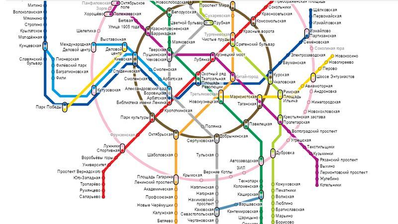 Внуково на карте Московского метрополитена