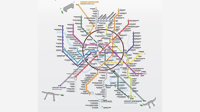 Карта города Москвы с аэропортами