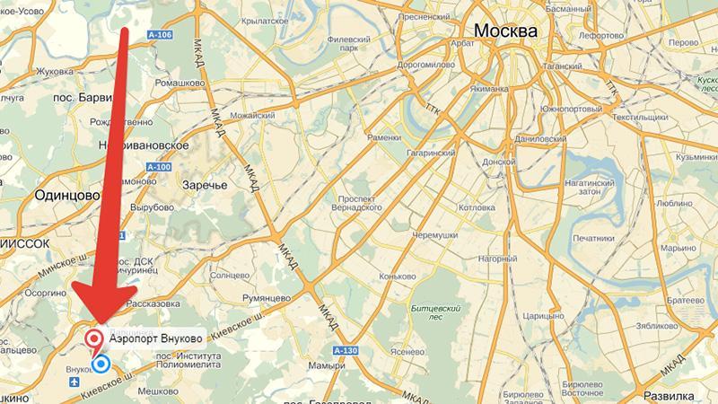 Аэропорт Внуково на карте города Москвы