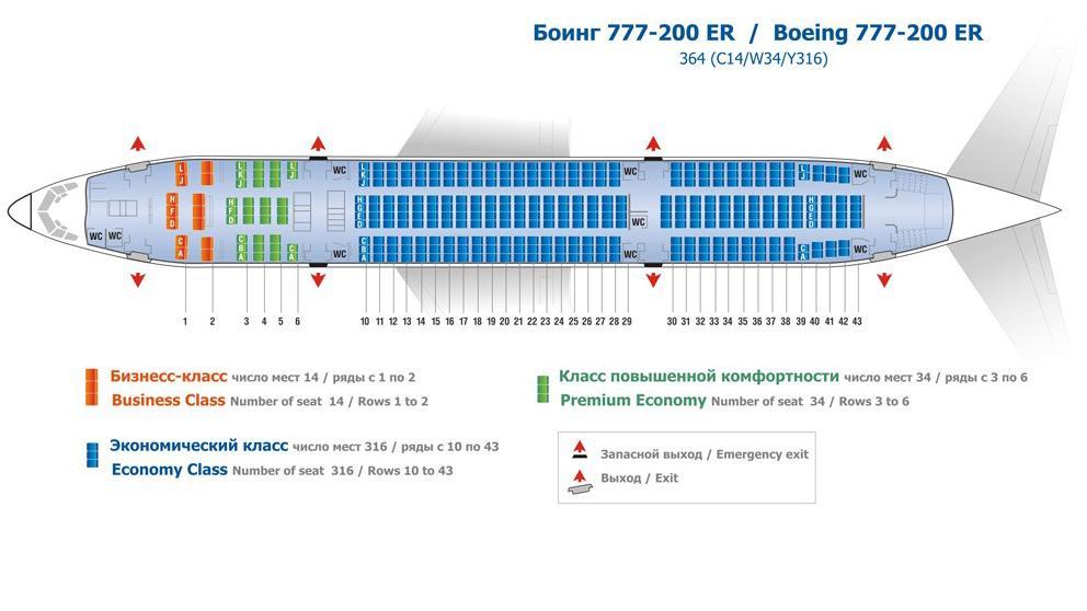 Боинг 777-200: схема салона, лучшие места.