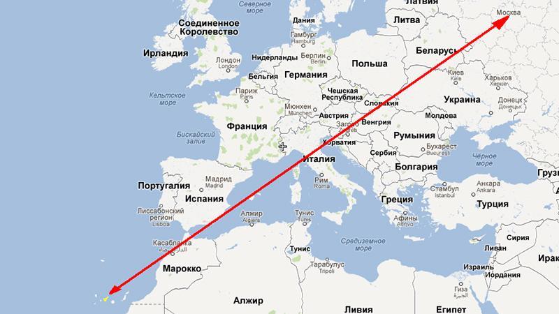 Сколько лететь до Тенерифе из Москвы прямым рейсом