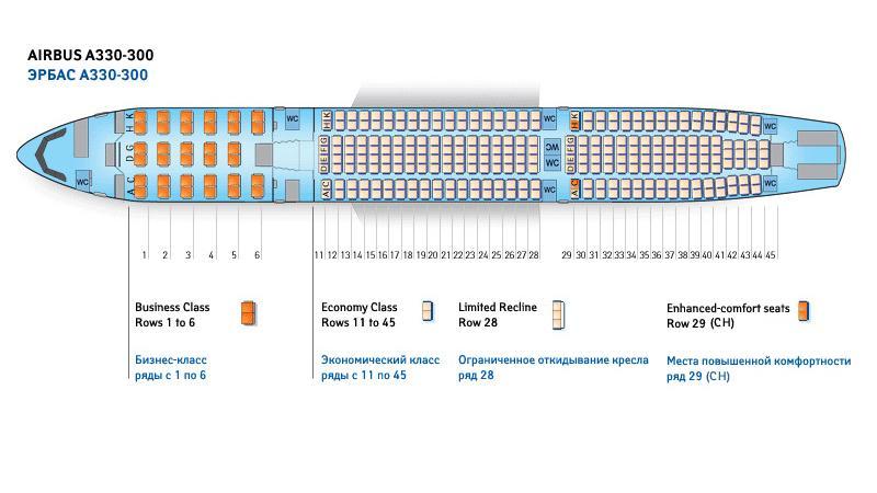 Схема салона самолета Аэробус А330-300