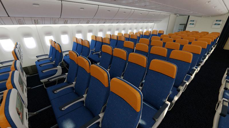 Схема эконом класса самолета Boeing 777 300