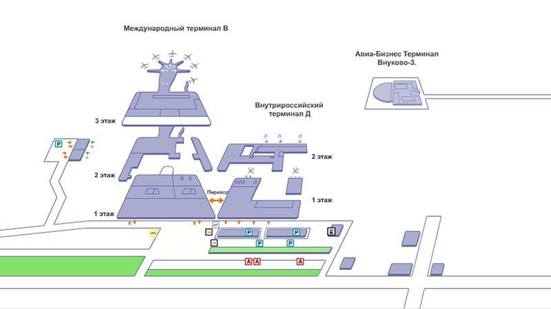 "План аэропорта Внуково: терминал ""В"""