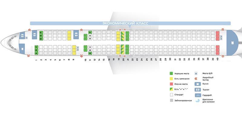 Лучшие места и схема салона Боинга 757 200