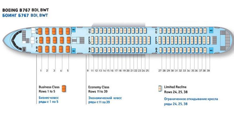 "Схема самолета Boeing 767 300 ""Катэкавиа"""