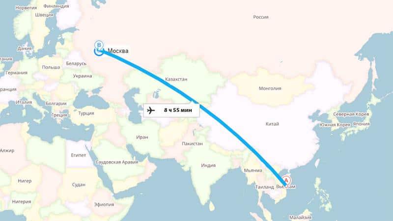 Перелет Москва-Вьетнам: время в пути