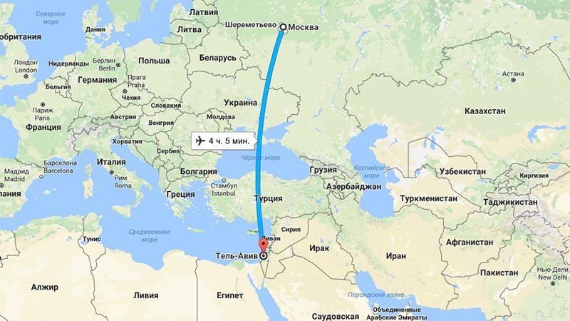 Сколько лететь до Израиля из Москвы прямым рейсом