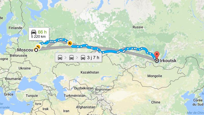 расстояние от Иркутска до Москвы