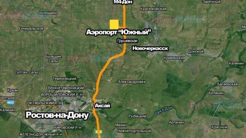 расположение на карте аэропорта «Южный» Ростов-на-Дону