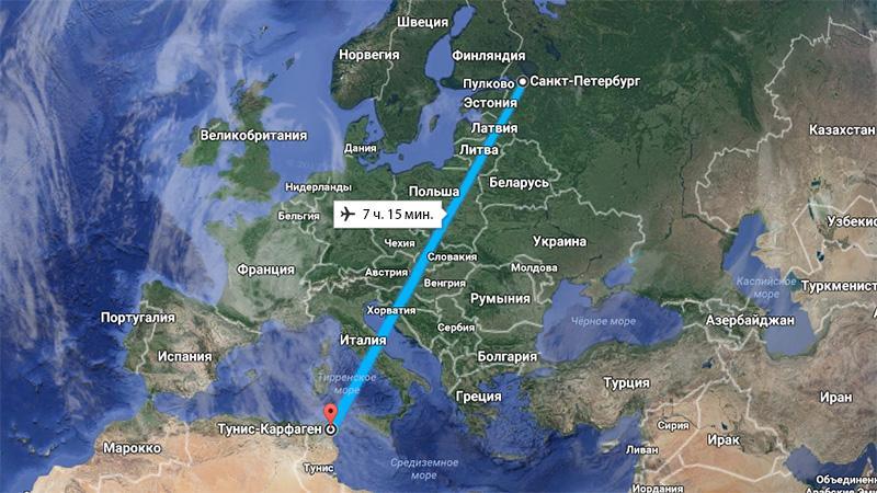 Сколько лететь до Туниса из Санкт-Петербурга