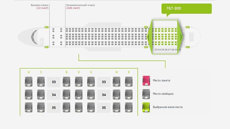 """Схема расположения мест: выбираем место в самолете """"S7"""""""