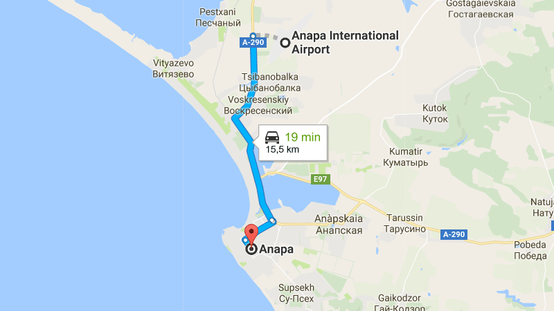 аэропорт Анапа (Витязево) на карте