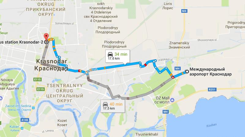 в Краснодаре расстояние от автовокзала до аэропорта