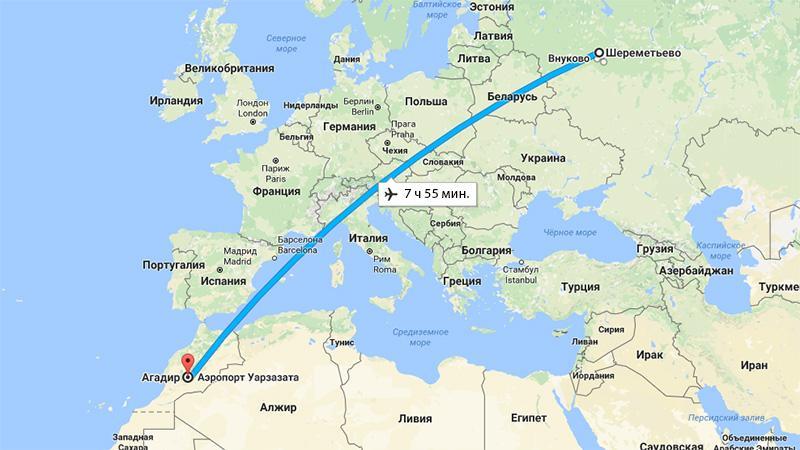 Время полета Москва-Агадир