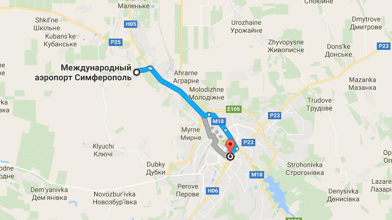 аэропорт Симферополь на карте города