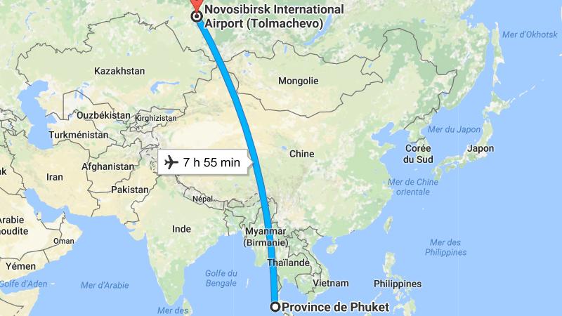 сколько часов лететь до Пхукета из Новосибирска