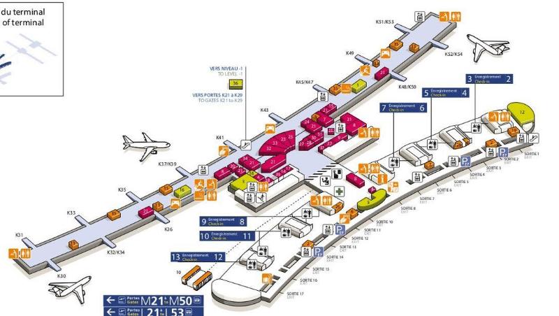 аэропорт Шарль-де-Голль схема терминал 2е