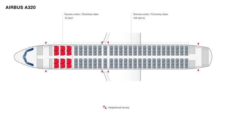 airbus industrie А320 Уральские авиалинии схема салона лучшие места