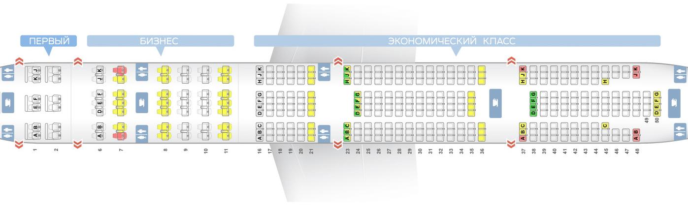 лучшие места Боинг 777-300ER схема салона Эмирейтс