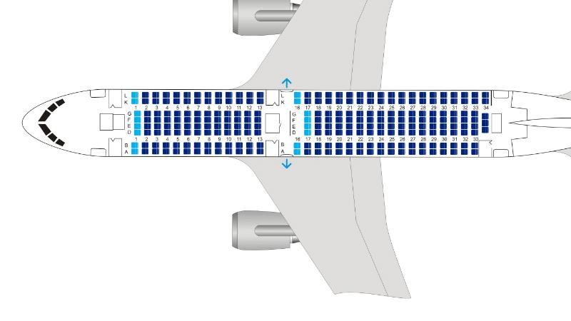 UTair Boeing 767-200 схема салона