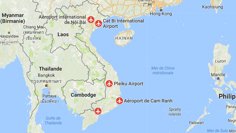 международные аэропорты на карте Вьетнама