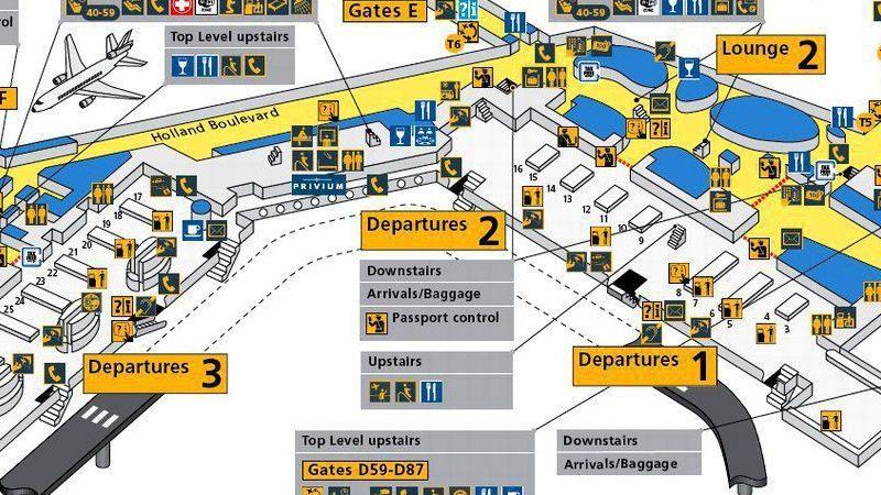 аэропорт Амстердама Cхипхол схема на русском языке