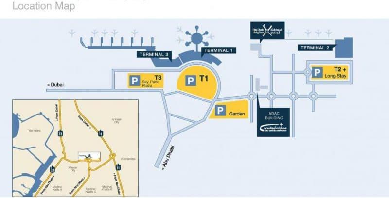Схема терминалов и месторасположение аэропорта Абу-Даби