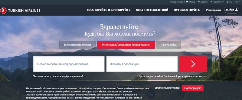 Пошаговая инструкция по прохождению онлайн регистрации в Турецких авиалиниях на русском языке